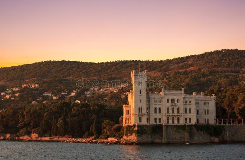Miramare城堡的里雅斯特 库存照片