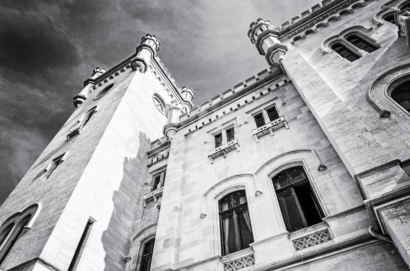 Miramare城堡细节在的里雅斯特,意大利附近的 免版税图库摄影