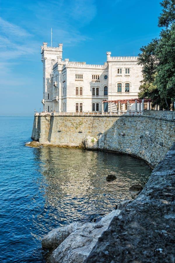 Miramare castle near Trieste, northeastern Italy. Travel destination. Beautiful architecture stock image