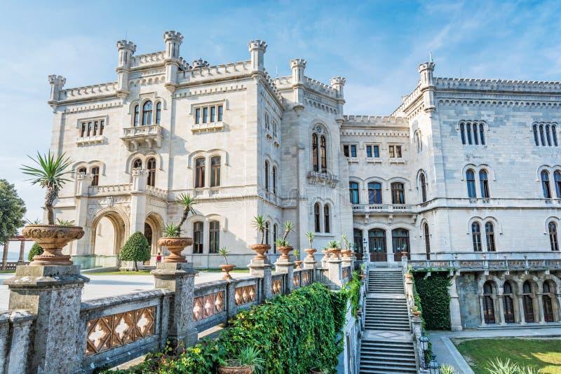 Miramare castle near Trieste, northeastern Italy. Travel destination. Beautiful architecture royalty free stock photos