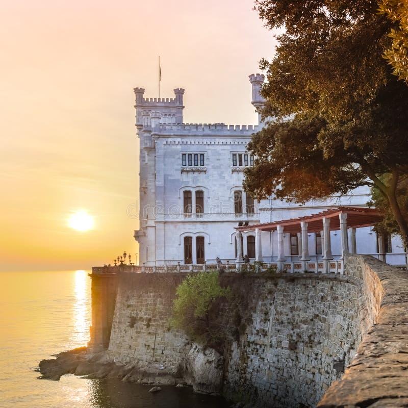 Miramare Castle, Trieste, Italy, Europe. Miramare Castle, Castello di Miramare, in sunset. it is a 19th century castle on the Gulf of Trieste near Trieste stock image