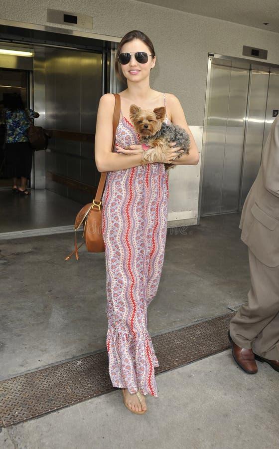 Miranda modèle Kerr est vu avec son crabot chez LAX photos libres de droits