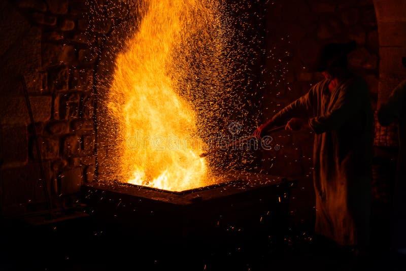 Mirandaola, fundição de ferro antiga que trabalha em Legazpia imagens de stock