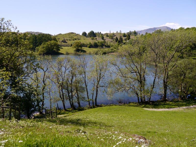 Mirando abajo en Loughrigg distrito del Tarn, lago imagen de archivo libre de regalías