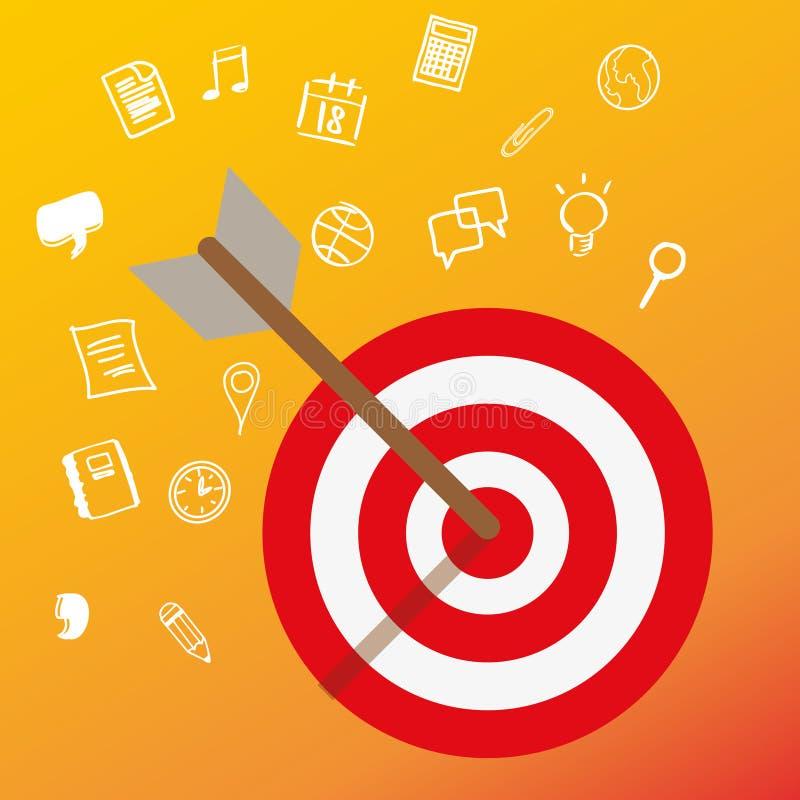 Mirando alla mente capa del cliente sistemi l'affare di concetto di vendita del mercato di obiettivo illustrazione vettoriale