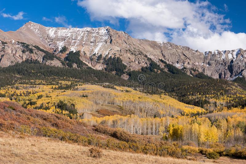 Mirando del este la gama de Sneffels del soporte dentro del bosque del Estado de Uncompahgre, Colorado foto de archivo