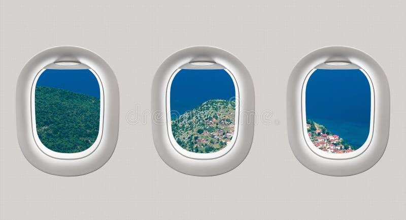 Mirando hacia fuera las ventanas de un avión al mar aúlle stock de ilustración