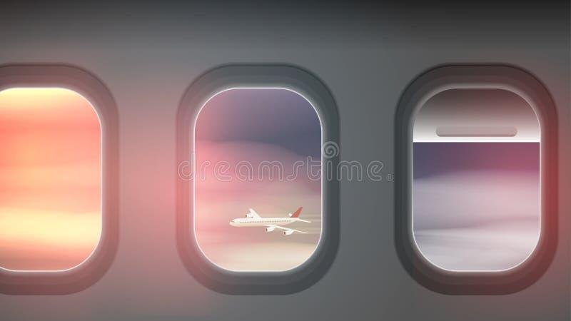 Mirando hacia fuera Windows de un avión, las nubes stock de ilustración