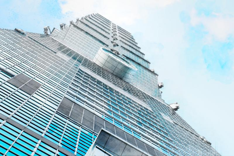 Mirando para arriba la vista de Taipei 101 mezcle el ejemplo dibujado mano del bosquejo stock de ilustración
