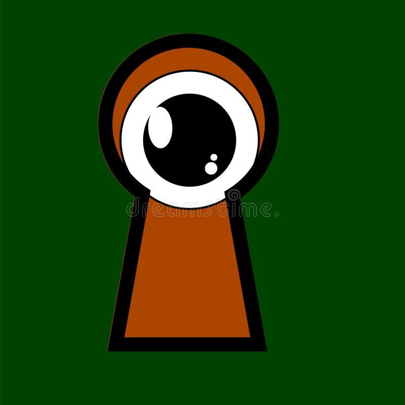 Mirar a escondidas el ojo del agujero de la cerradura libre illustration