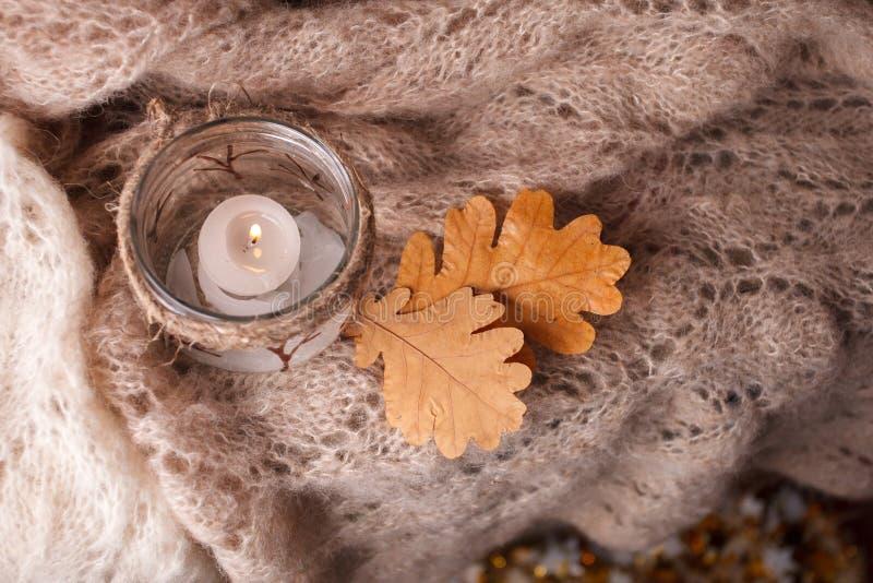 Mire al trasluz la bufanda ligera, rosada en un fondo de madera Humor del cosiness del invierno, visión superior, invierno acoged fotos de archivo