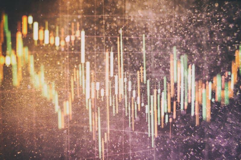 Mire al trasluz la carta del gráfico del palillo del comercio de la inversión del mercado de acción La carta del gráfico de las d stock de ilustración