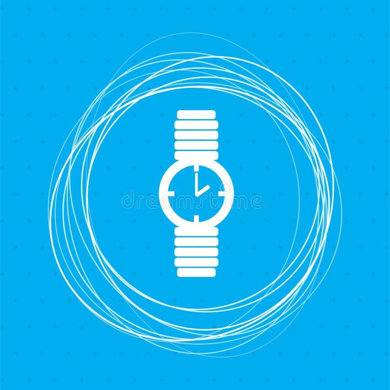 Mire el icono en un fondo azul con los círculos abstractos alrededor y coloqúelo para su texto stock de ilustración