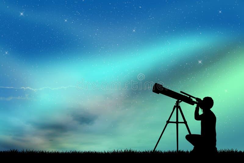 Mire en el telescopio ilustración del vector
