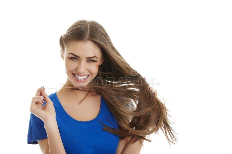 ¡Mire mi pelo! ¡De largo, sano y sedoso! fotografía de archivo