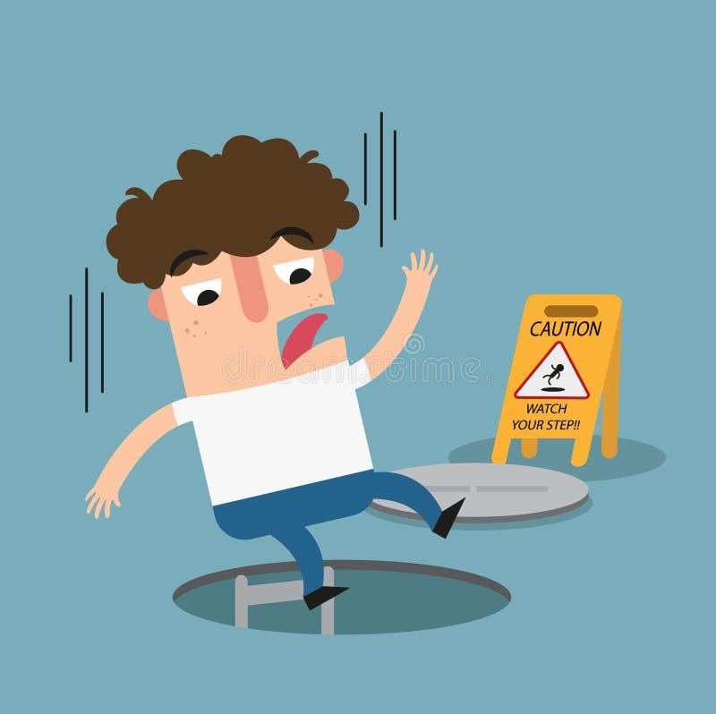 Mire su muestra de la precaución del paso Peligro de caer libre illustration