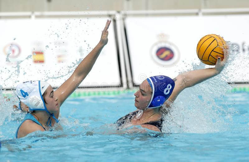 Mireia Guiralt of CN S. Andreu vies with Maica Garcia of CN Sabadell stock photo