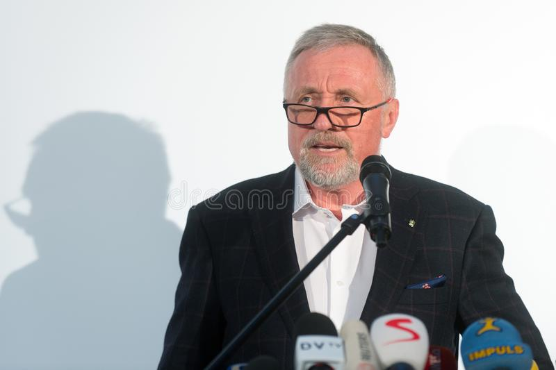 Mirek Topolanek. The presidential candidate Mirek Topolanek speaks to journalists during the press conference about his presidential candidacy in Prague, Czech stock image