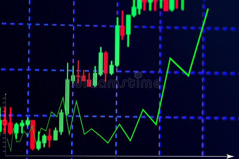 Mirez le diagramme de graphique de bâton avec l'indicateur montrant le point à la hausse ou photos libres de droits