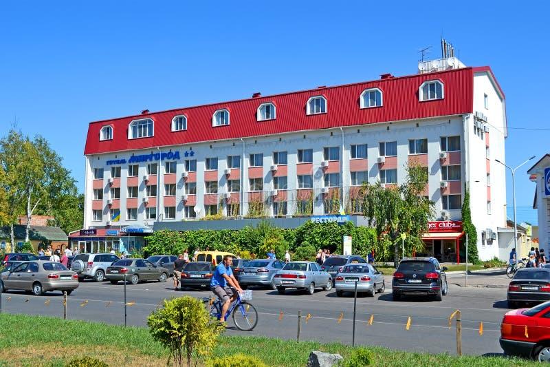 Mirgorod hotell i den berömda ukrainska wellnesssemesterorten Myrhorod, Ukraina, arkivfoto