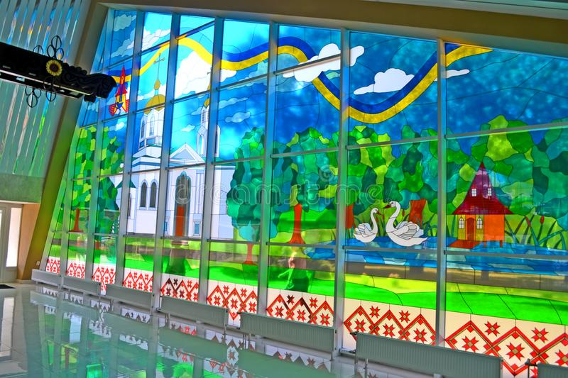 Interior of pump water building with windows decorated with colorful glass mosaic, Myrgorod, Ukraine stock photos