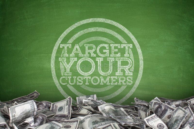 Miri ai vostri clienti sulla lavagna illustrazione di stock