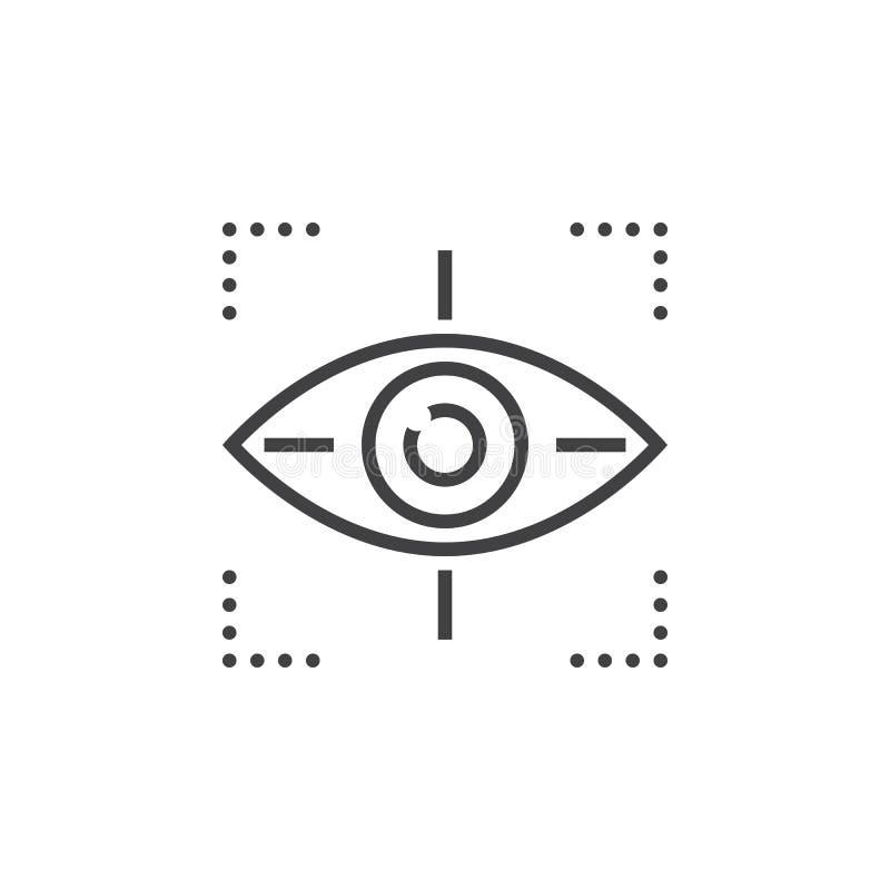 Miri al vettore dell'icona di simbolo, occhio che segue la linea l'icona, vecto del profilo royalty illustrazione gratis