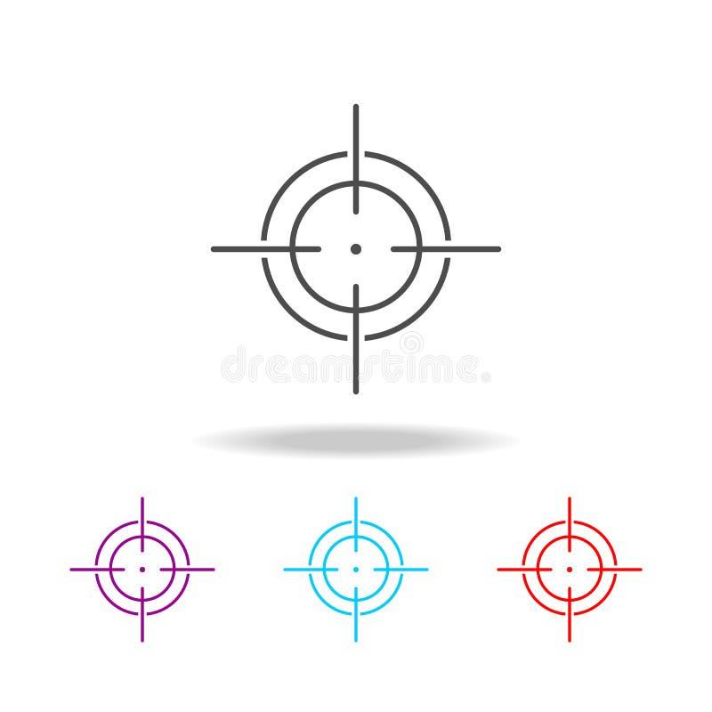 Miri all'icona, la linea icona di simbolo del tiratore franco di vista Elementi dei militari nelle multi icone colorate Icona pre illustrazione di stock