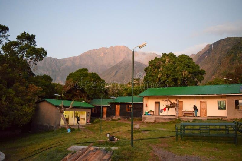 Miriakamba Hut, Mount Meru, Arusha National Park, Tanzania stock photos