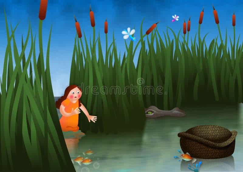Miriam die over Baby Mozes letten op stock illustratie