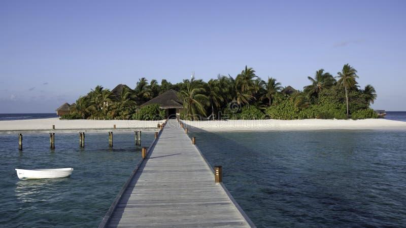 Mirihi - een klein tropisch eiland, de Maldiven royalty-vrije stock afbeeldingen