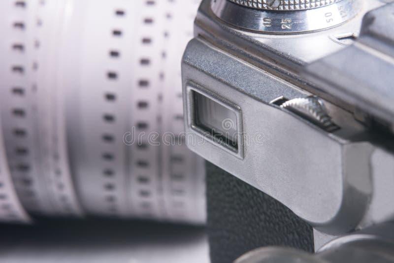 Mirino del primo piano di vecchia macchina da presa immagini stock libere da diritti