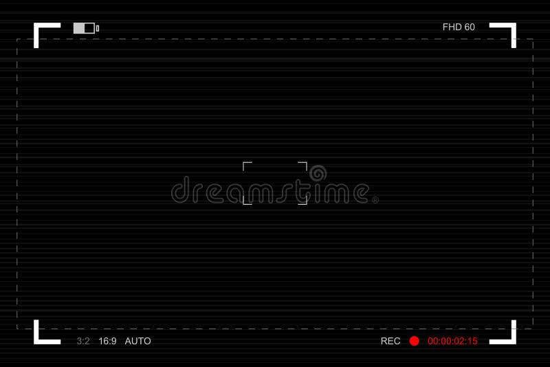 Mirino della macchina fotografica Schermo messa a fuoco del modello della macchina fotografica video illustrazione vettoriale