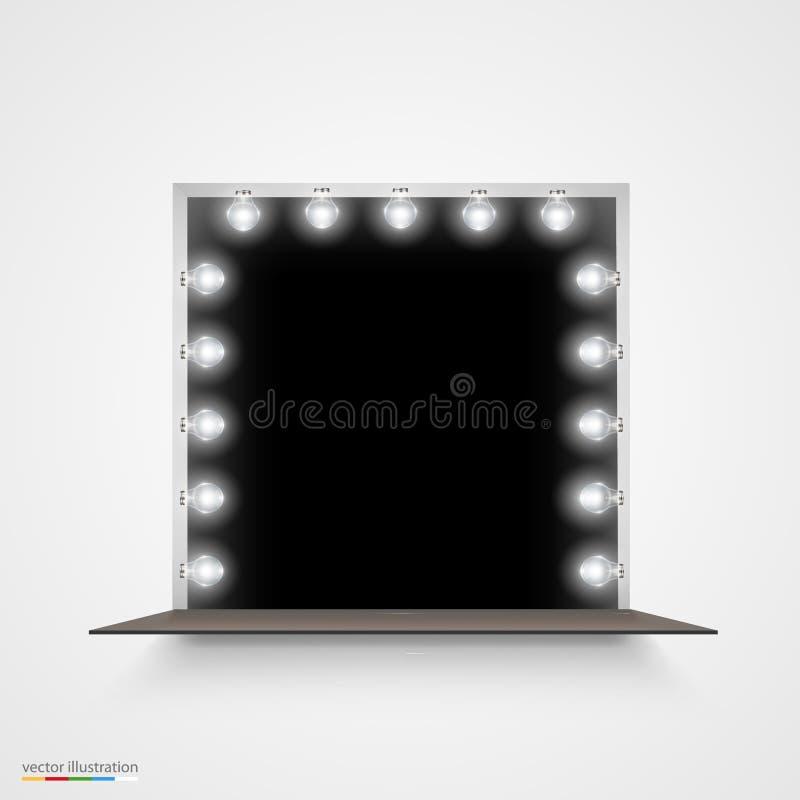 miroir avec des ampoules pour le maquillage illustration de vecteur illustration du artiste. Black Bedroom Furniture Sets. Home Design Ideas