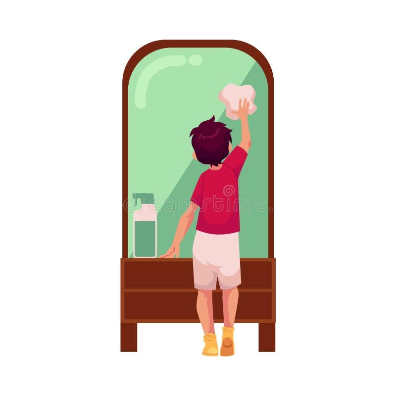 Miroir de l'adolescence de nettoyage de garçon de vecteur par le chiffon illustration stock