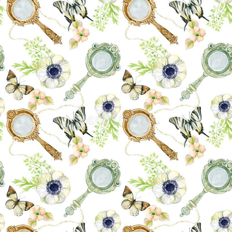 Miroir de main de vintage avec les fleurs et le papillon illustration de vecteur