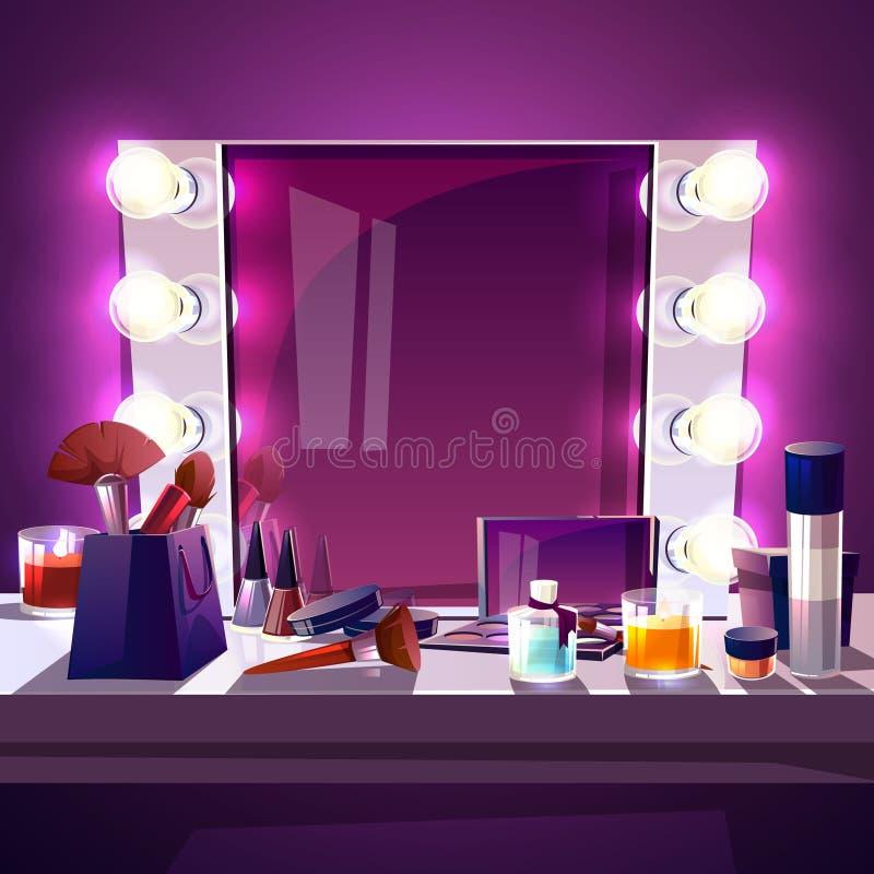 Miroir de maquillage avec l'illustration de vecteur de lampes illustration de vecteur