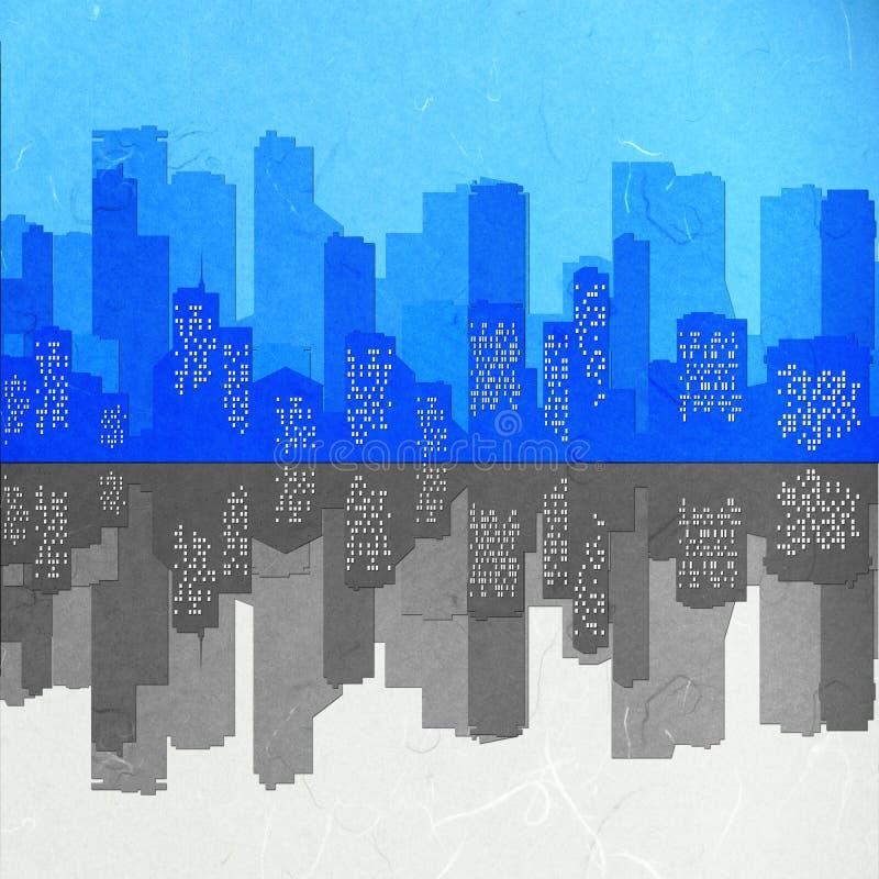 Miroir de paysage urbain de coupure de papier de riz illustration stock