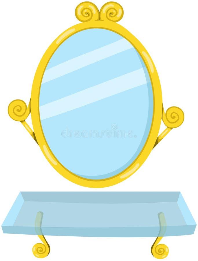 Miroir de salle de bains avec l'étagère illustration libre de droits
