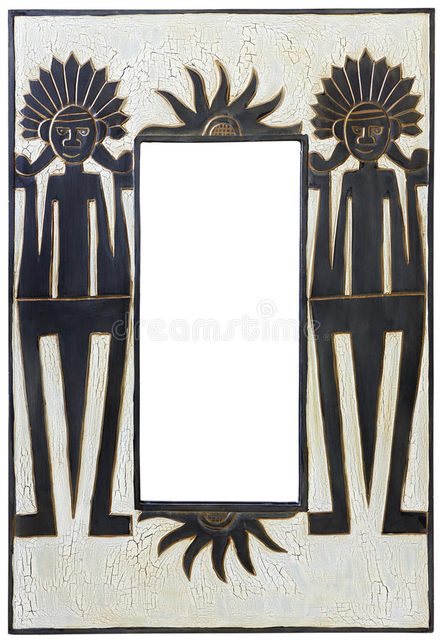 Miroir en bois de type africain photo stock image du for Miroir noir download