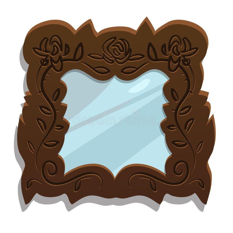 Miroir en bois de vintage avec les modèles floraux illustration stock