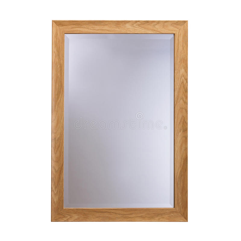 Miroir en verre de cadre en bois photo stock