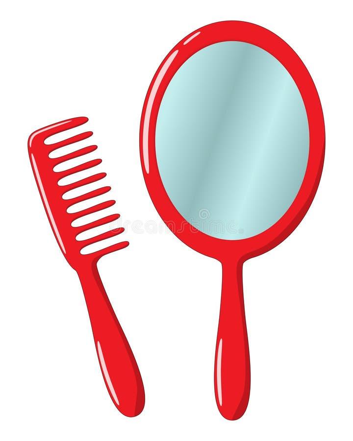 Miroir et peigne illustration de vecteur