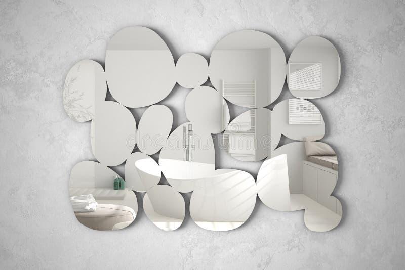 Miroir moderne sous forme de cailloux accrochant sur le mur reflétant la scène de conception intérieure, salle de bains lumineuse photographie stock