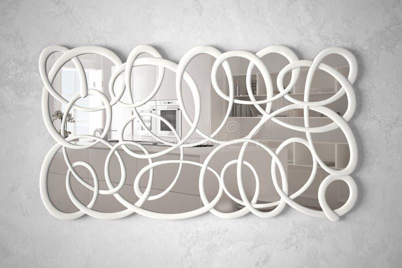 Miroir tordu moderne de forme accrochant sur le mur reflétant la scène de conception intérieure, cuisine lumineuse avec la grande photographie stock libre de droits