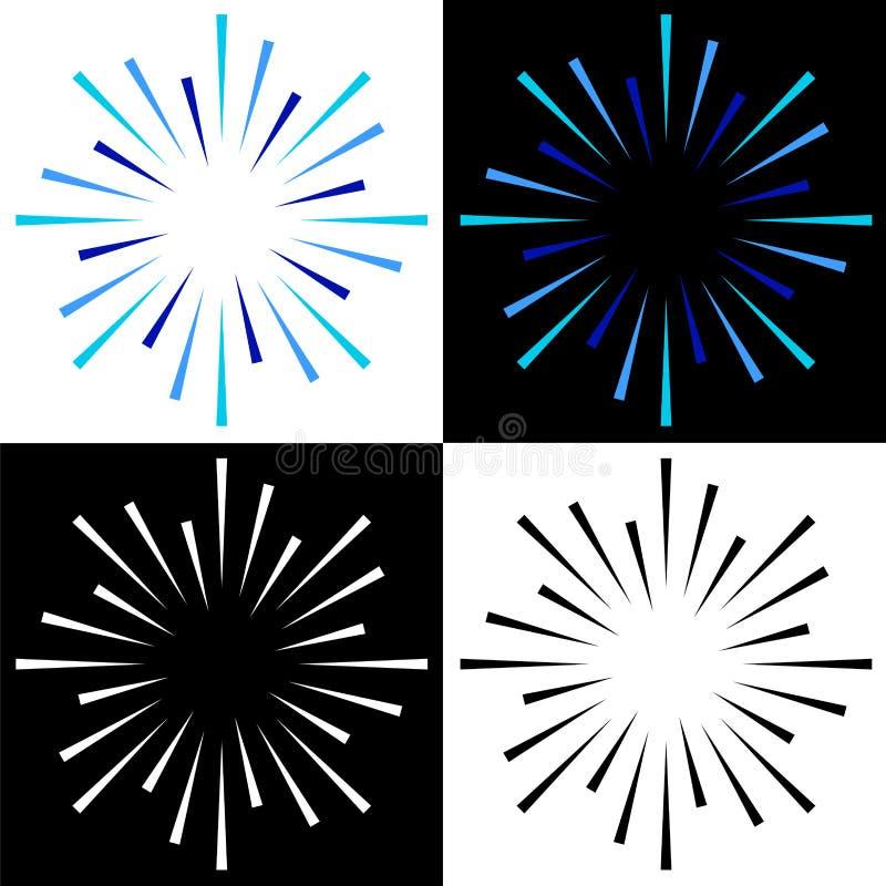 Miroite les logos colorés de rayon de soleil de starburst illustration libre de droits