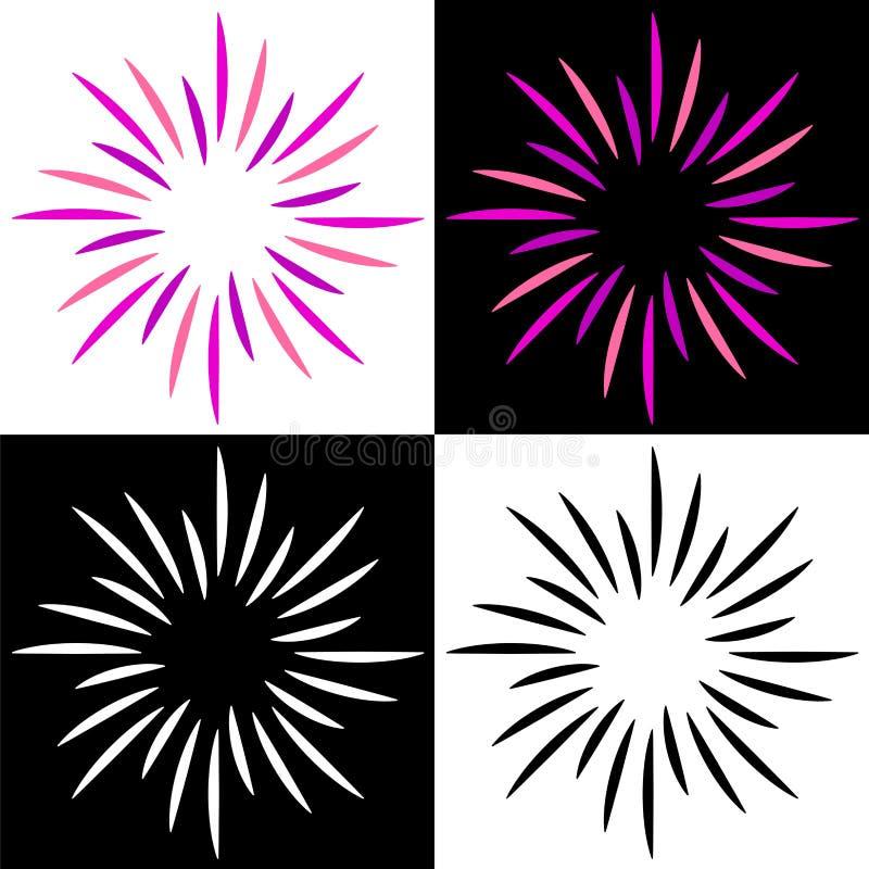 Miroite les logos colorés de rayon de soleil de starburst illustration stock