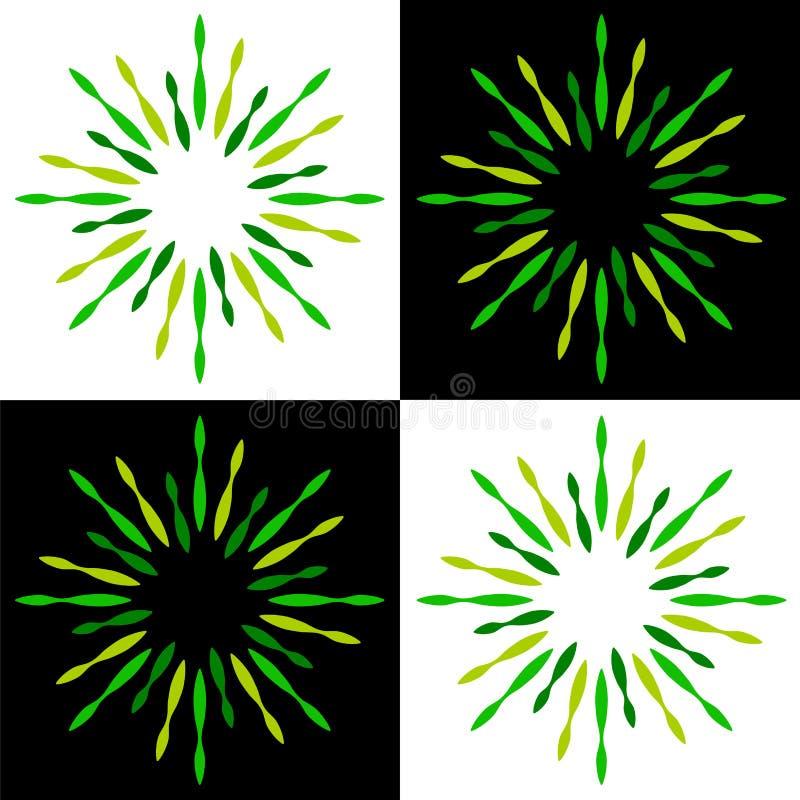 Miroite les logos de vert de rayon de soleil de starburst illustration de vecteur