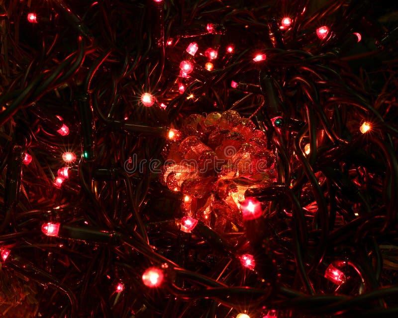 miroiter le fond de Noël avec beaucoup de lumières de LED et un golde photographie stock libre de droits
