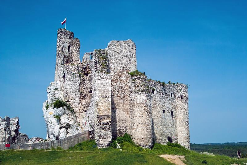 Ruins of a knight`s castle stock photos